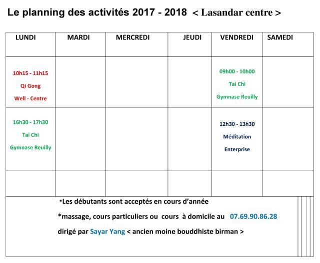 planning lasandar centre 2017-2018