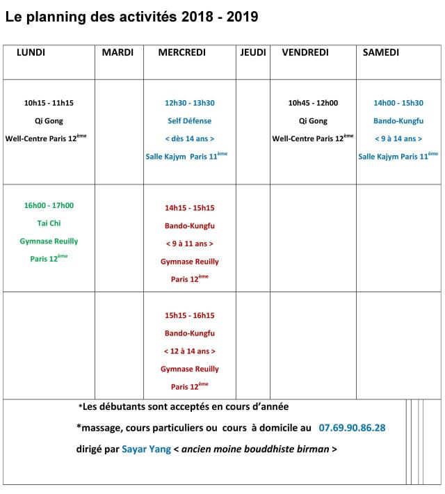 planning activités 2018-2019