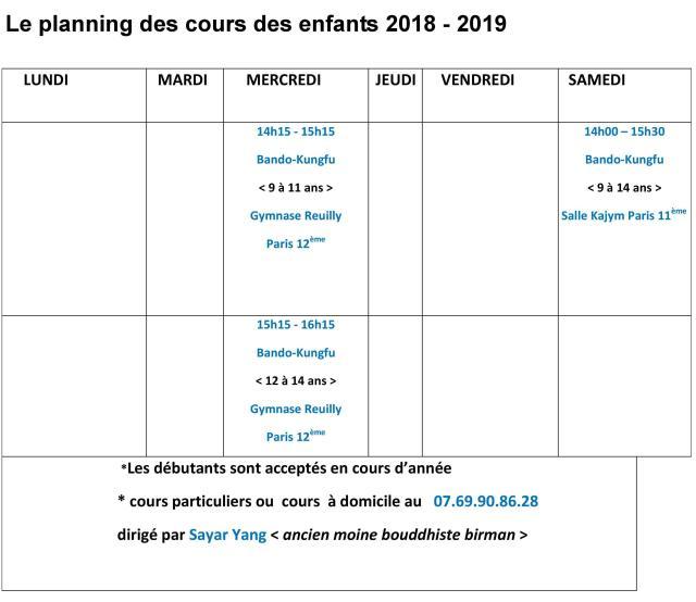 planning cours d'enfant 2018-2019