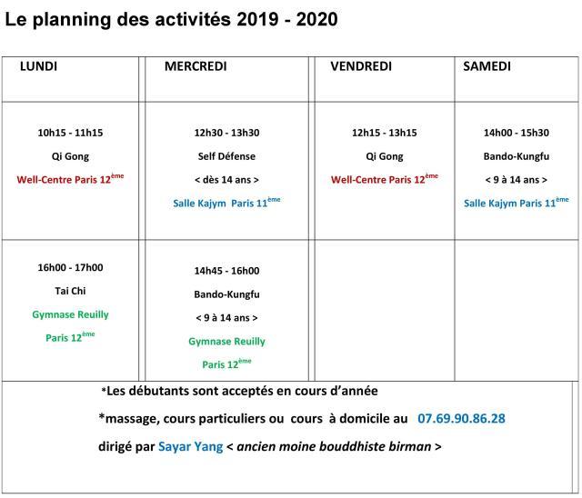 planning activités 2019-2020